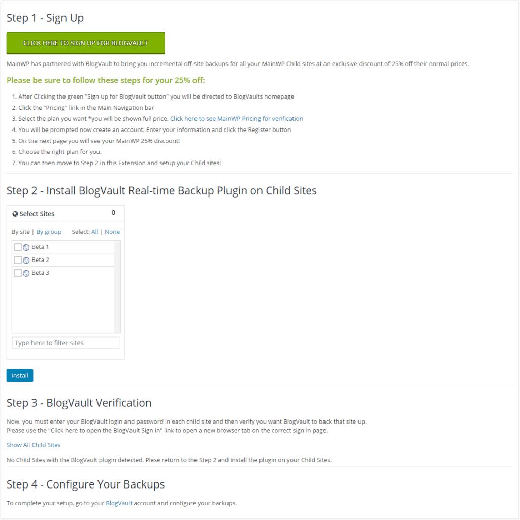 BlogVault Setup