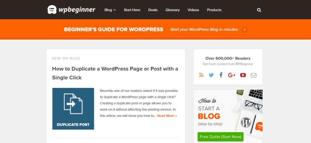 WP Beginner's new look! Screenshot: WPBeginner.com