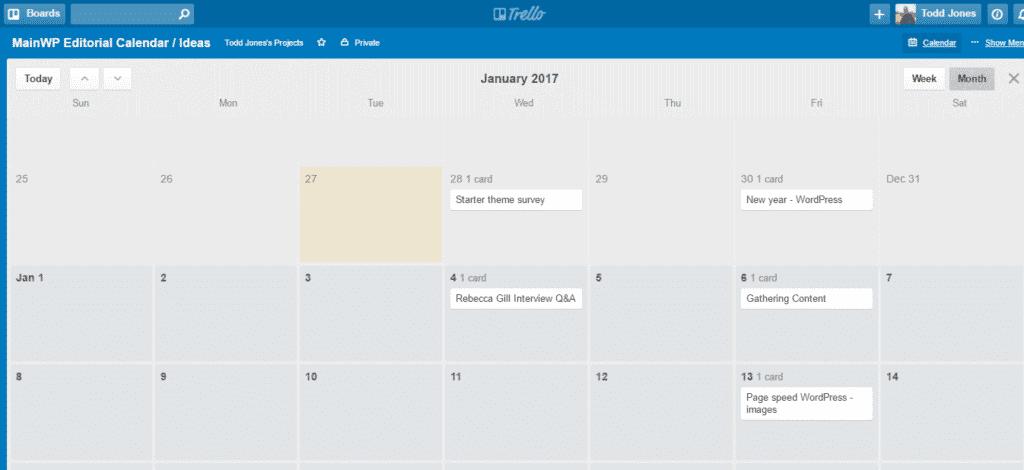 MainWP Editorial Calendar Ideas Trello