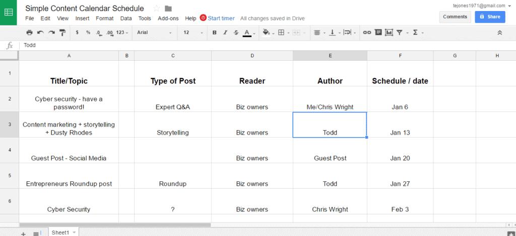 Simple Content Calendar Schedule Google Sheets