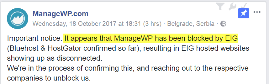 ManageWP Facebook Page
