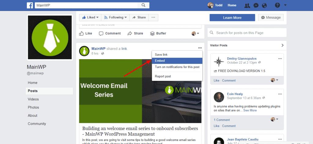 Embedding Facebook posts