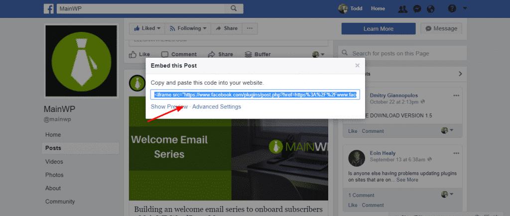 Copy Facebook embed code