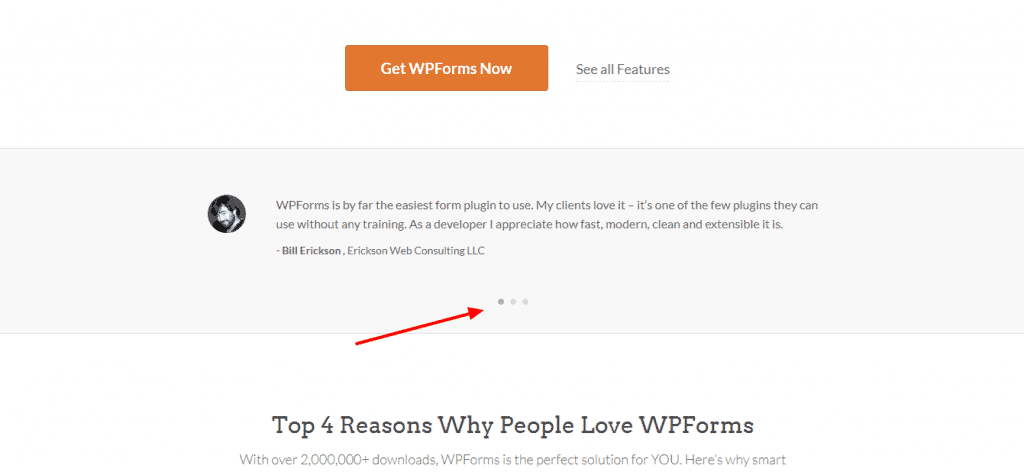 WPForms slider layout for testimonials