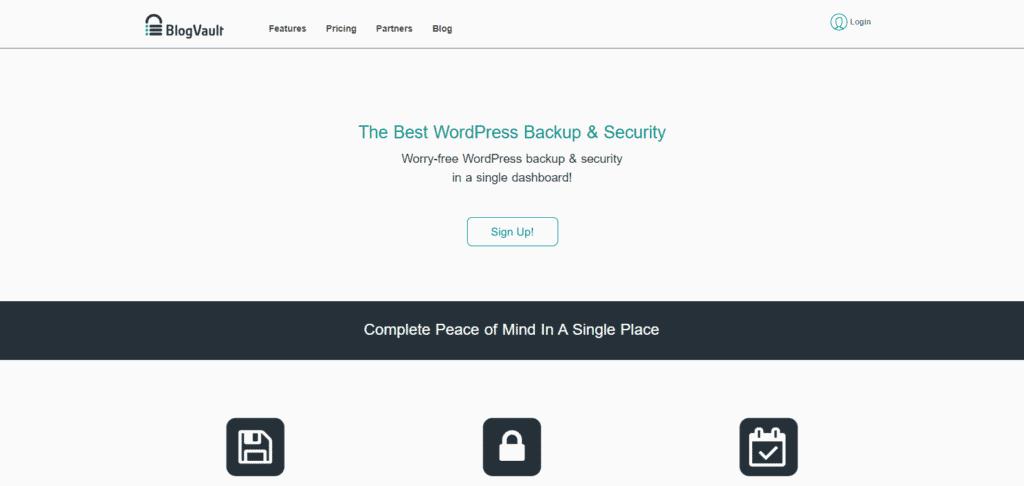 Screenshot: BlogVault for WP