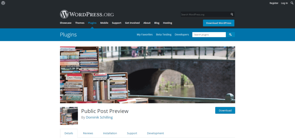 Screenshot: Public Post Preview WordPress.org