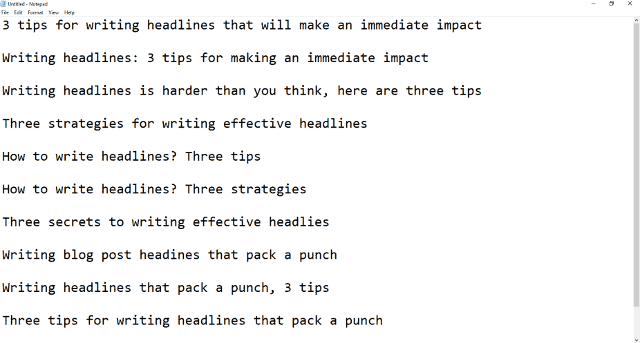My headlines brain dump