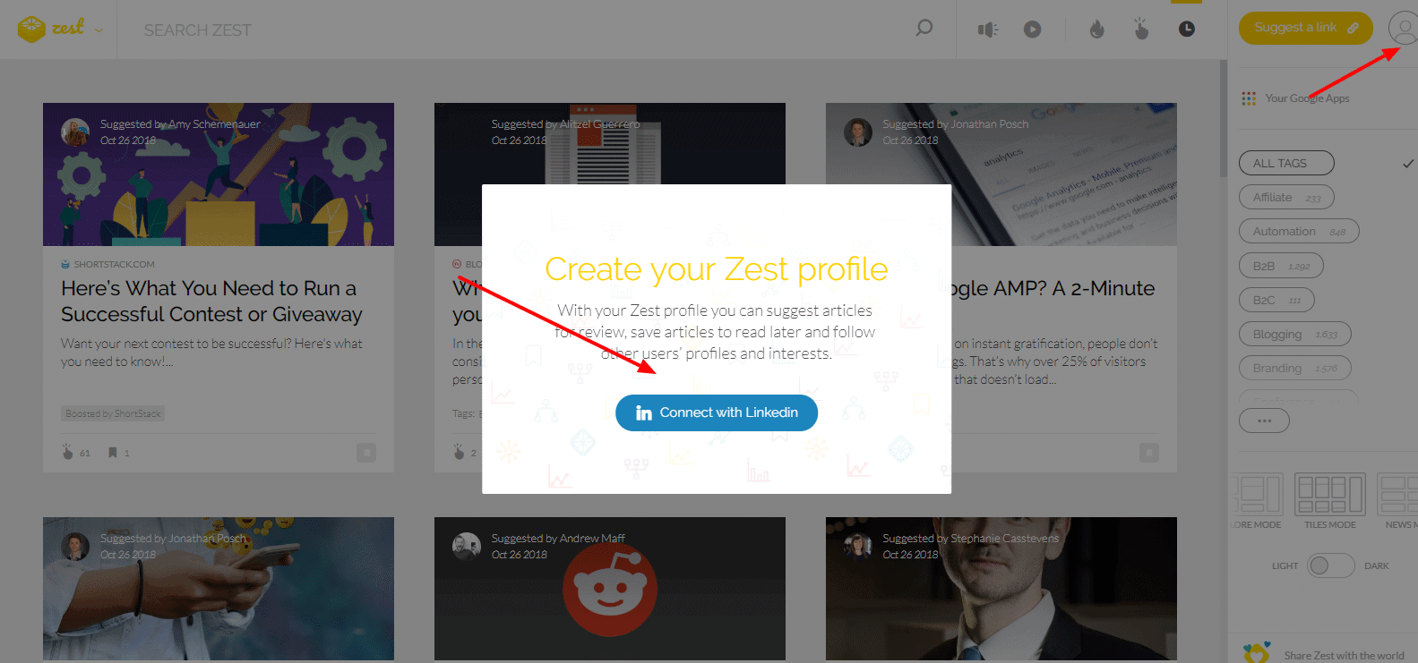 Create a Zest account with LinkedIn