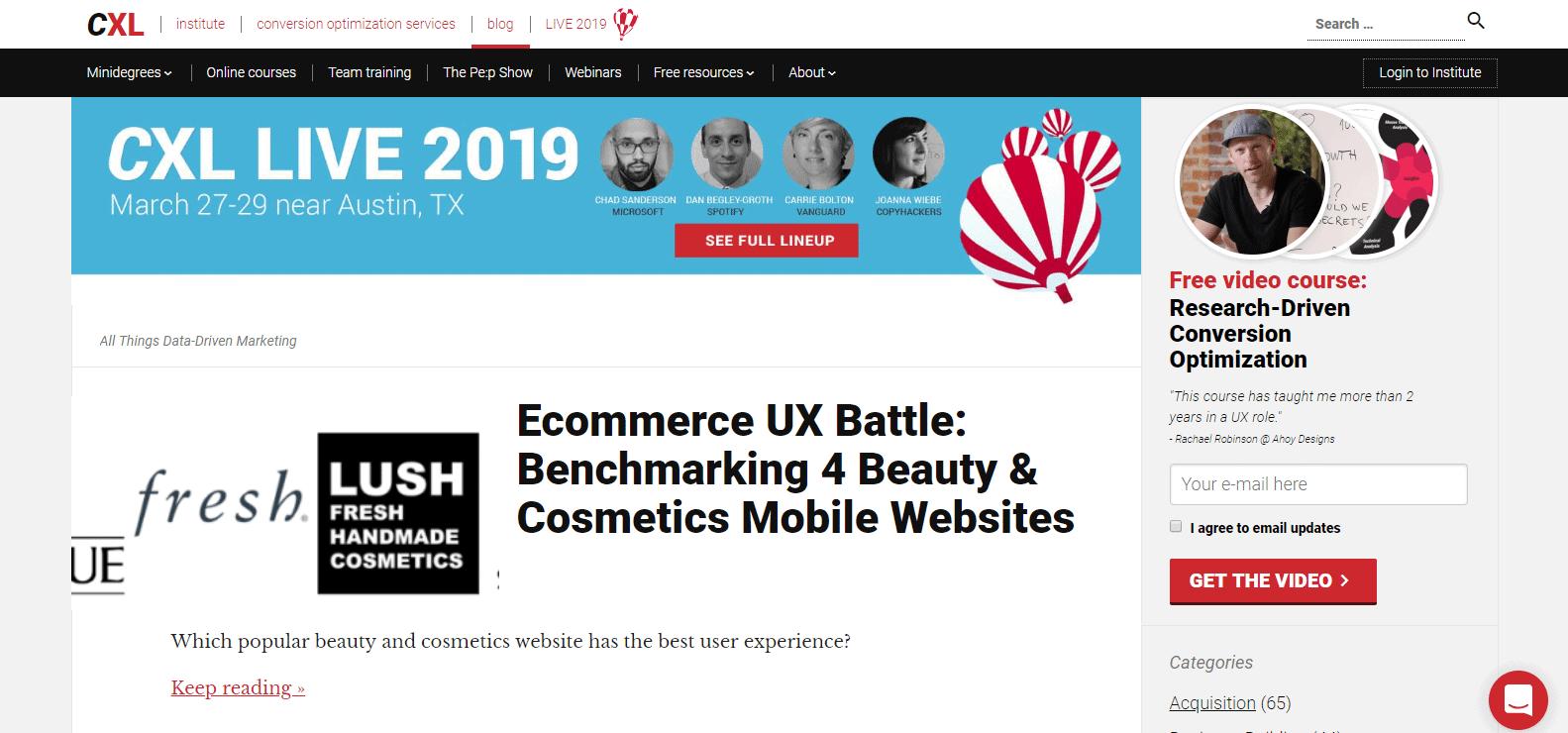 Screenshot: conversionxl.com/blog/