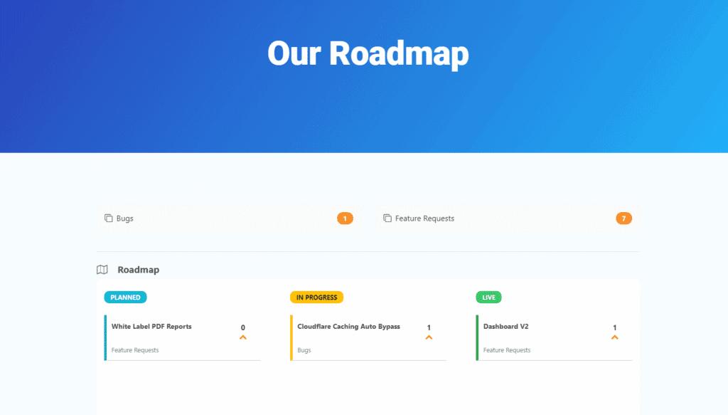 Screenshot: SplitHero Roadmap