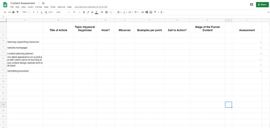 Content Assessment Google Sheets