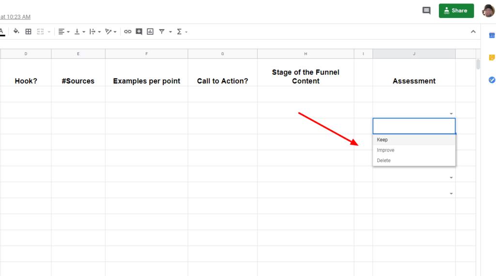 Content Assessment Google Sheets - assessments