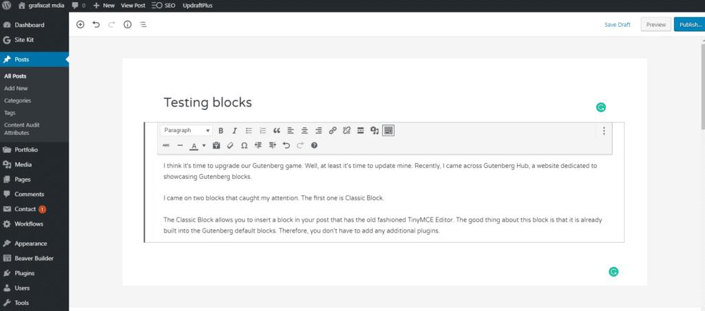 Gutenberg Classic Block