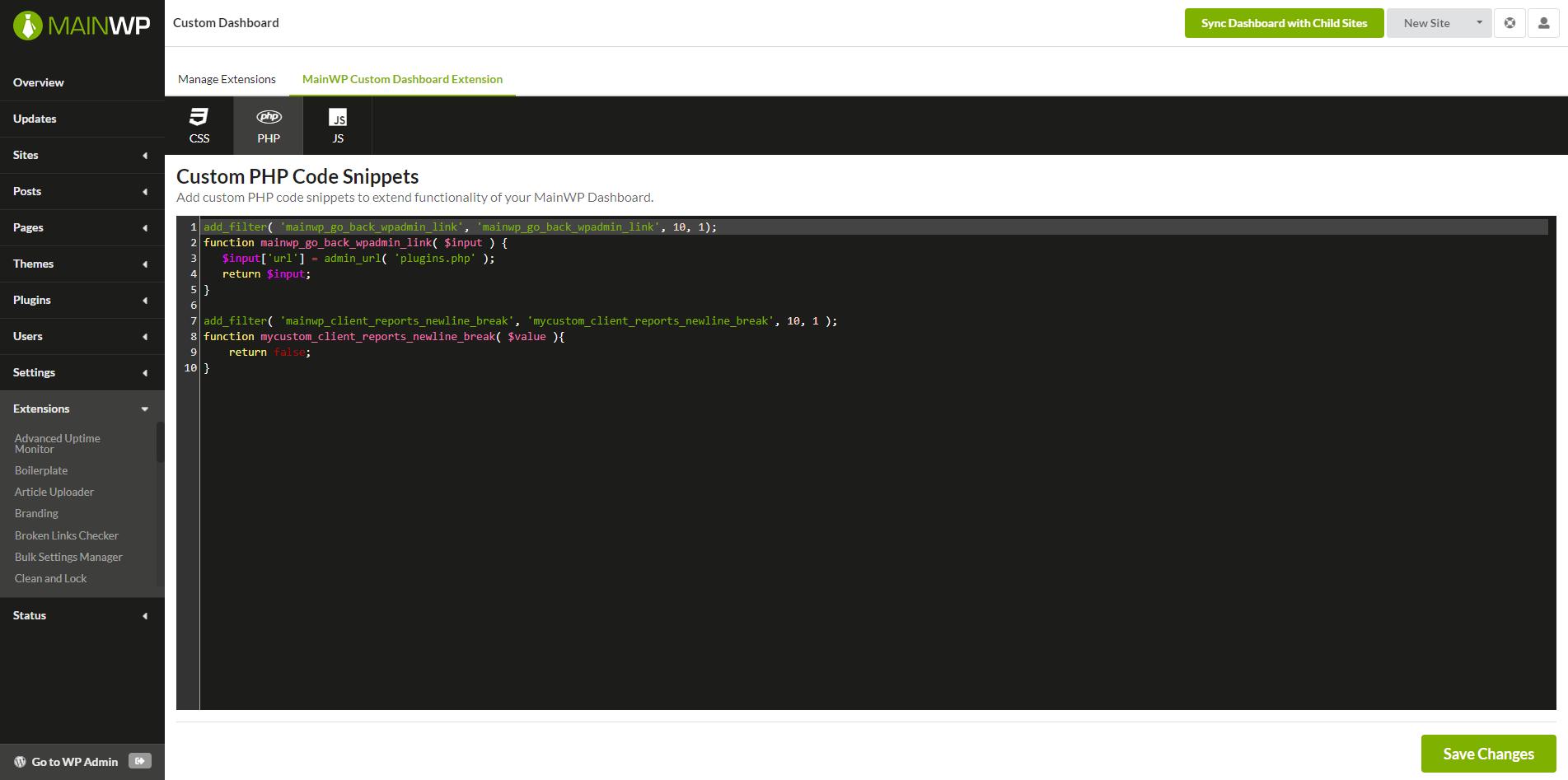 custom-dashboard-php