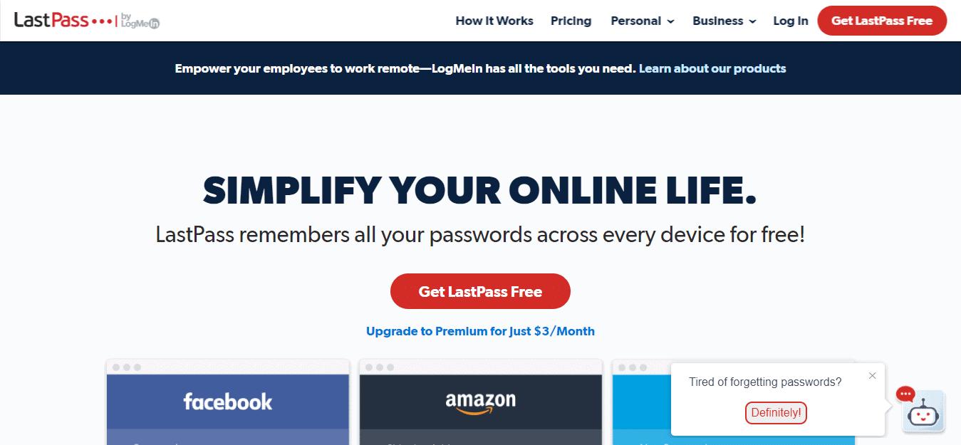 Screenshot: https://www.lastpass.com -