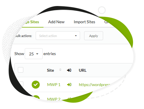 MainWP Sites Management