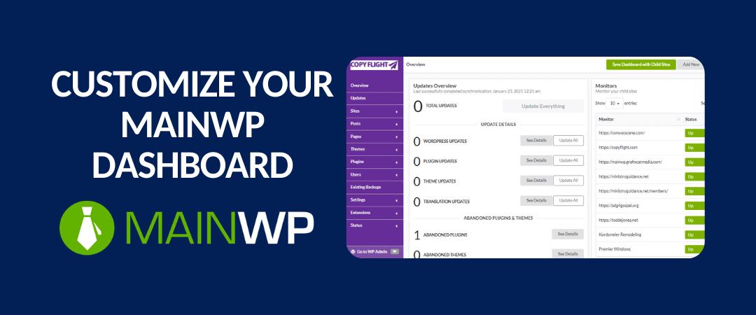 customize your mainwp dashboard