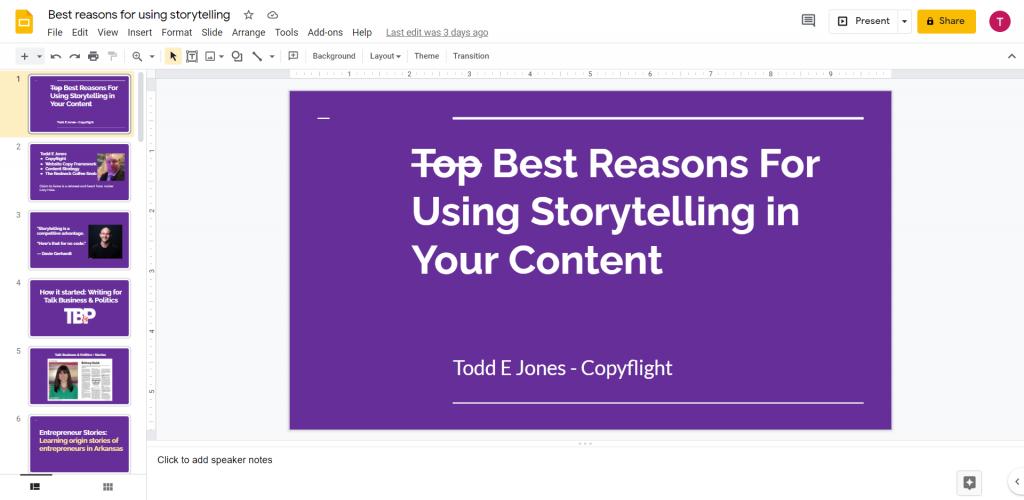 Screenshot of my presentation
