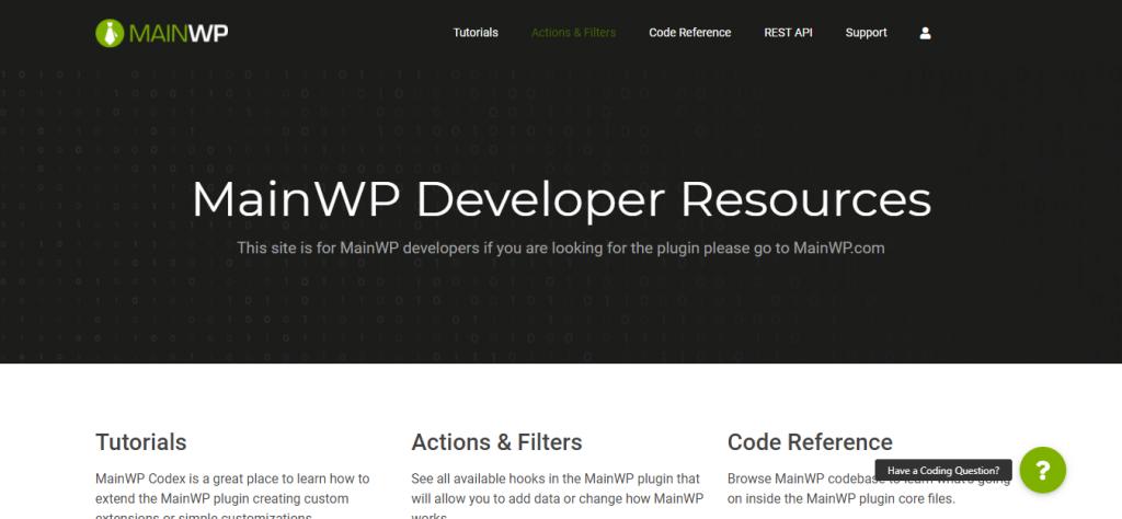 Screenshot: mainwp.dev
