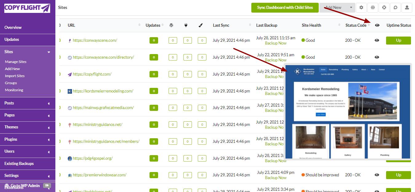 My MainWP Dashboard Screenshot