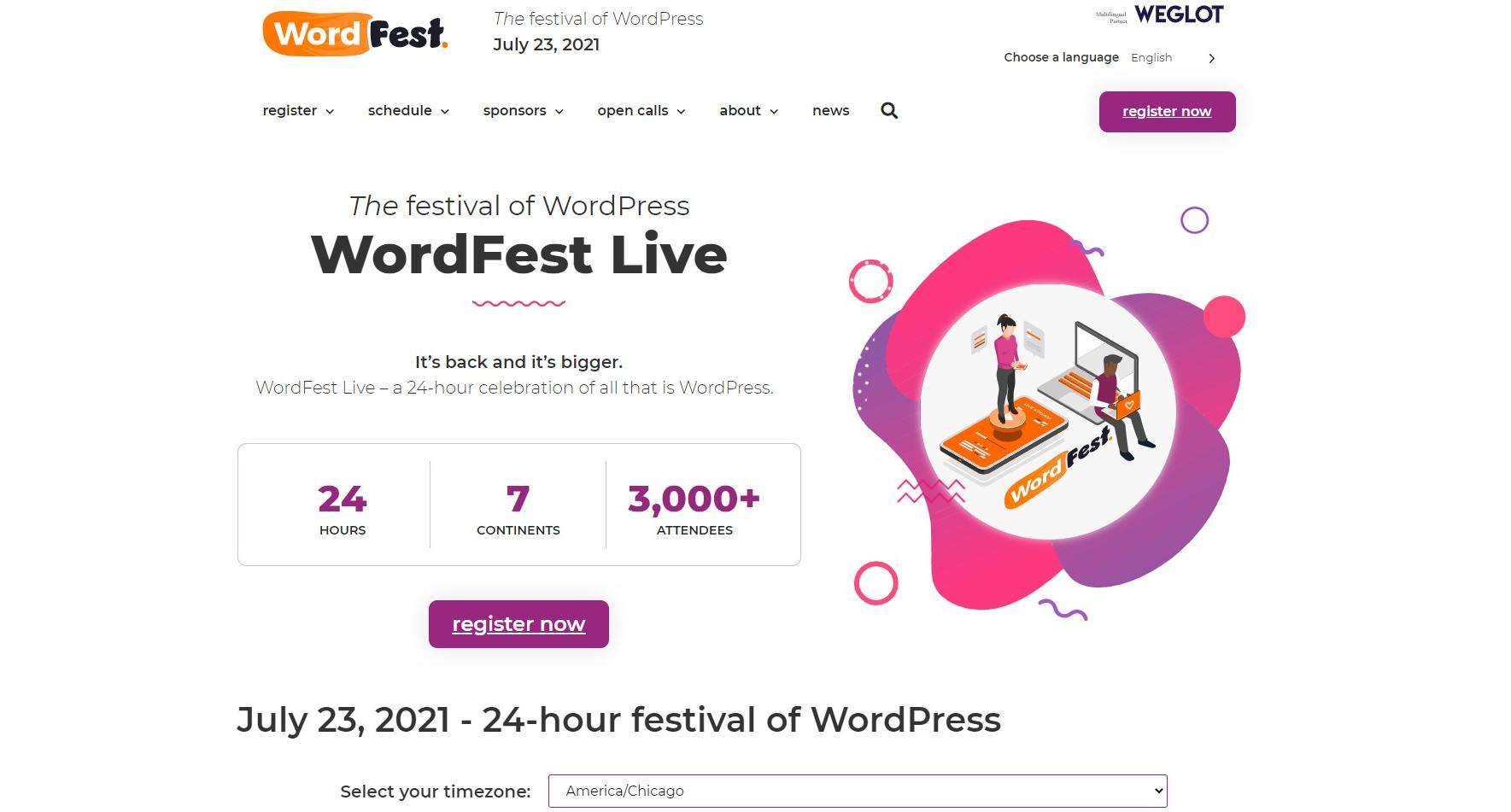 screenshot: wordfest.live