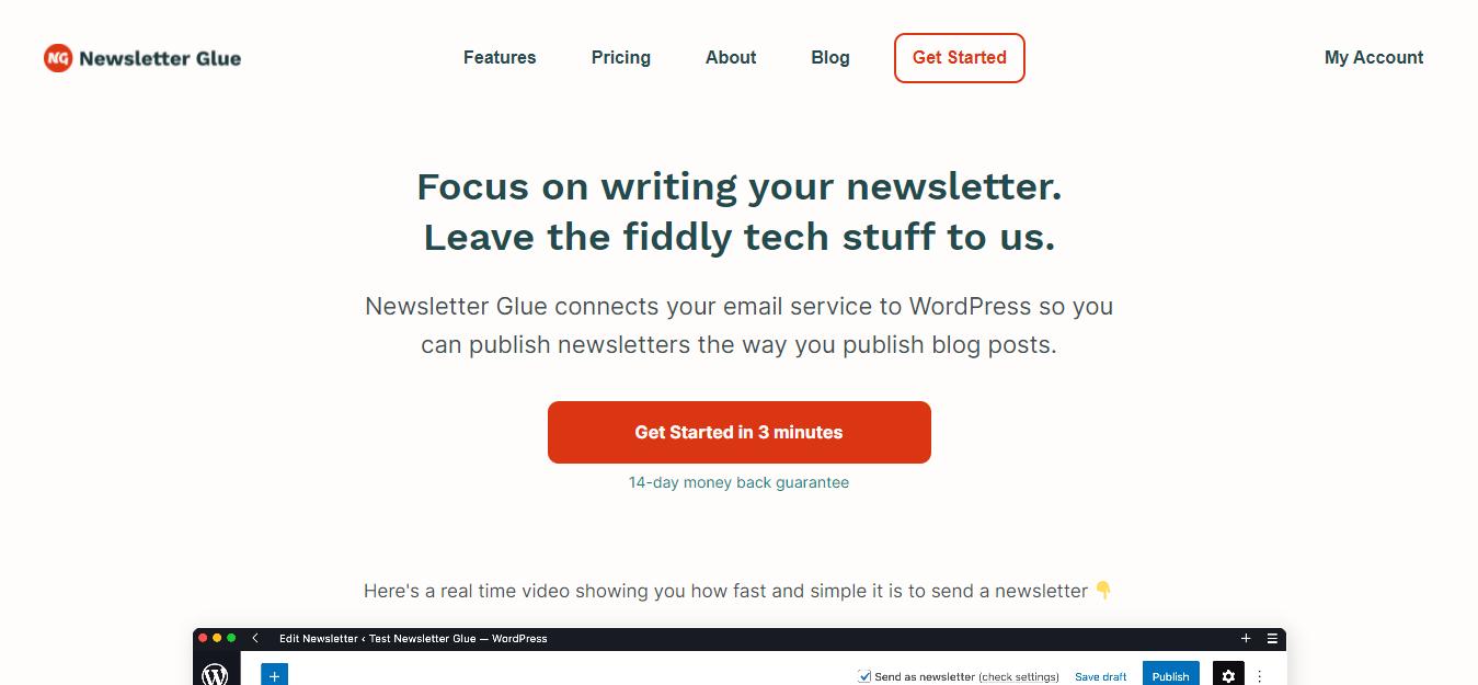 Screenshot: newsletterglue.com