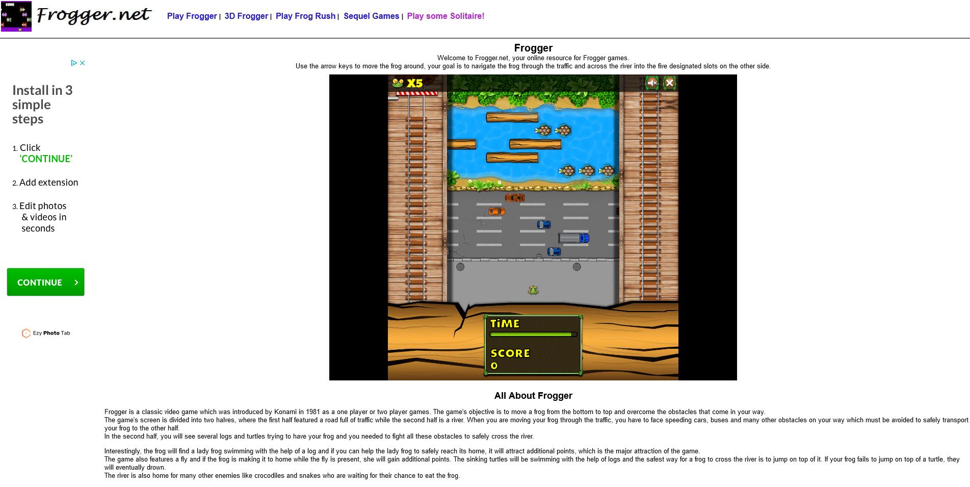 Screenshot: www.frogger.net
