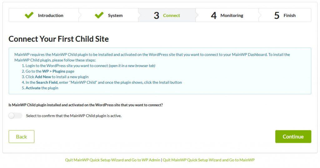 MainWP - Quick Setup Wizard - Connect - Install MainWP Child
